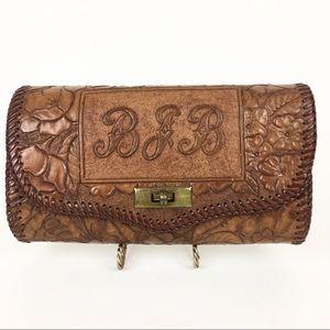 Vintage Tooled Leather Bag Clutch Purse Floral